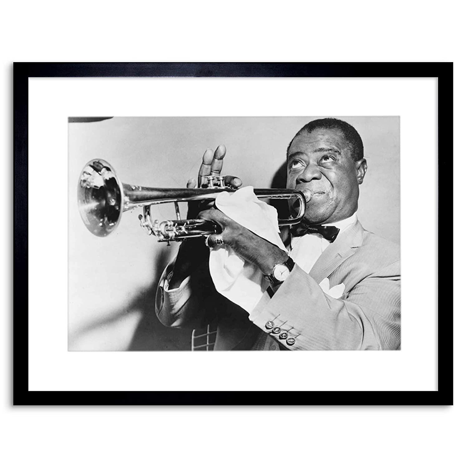 9x7 '' PHOTO MUSIC JAZZ LOUIS ARMSTRONG PLAYING TRUMPET FRAMED ART PRINT  F97X825