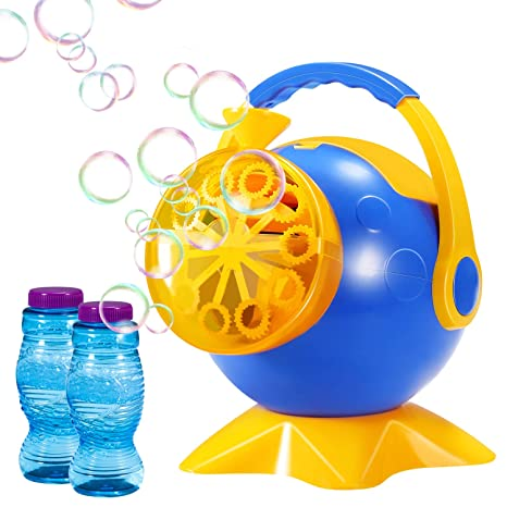 geekper bubble machine automatic bubble blower durable bubble maker with 2 bottles of bubbles solution