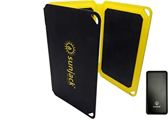 SunJack Cargador Solar con Qualcomm Carga Rápida 3.0 + USB-C Power Bank - Panel Solar Portátil con USB para Teléfonos Celulares, Batería iPad, Mochila, Camping, Senderismo: Amazon.es: Electrónica