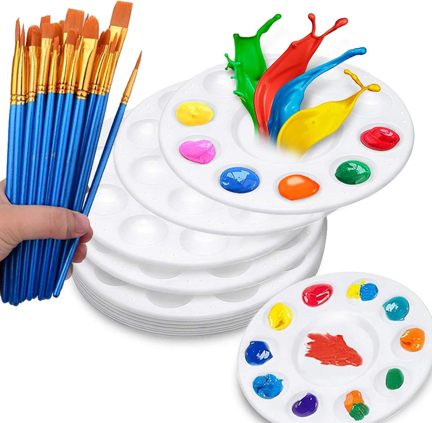 Goging 20 Pcs Nylon Hair Brush Set with 6 Piece Paint Tray Palette Plastic for Kids DIY Craft Art Painting Round Pallets