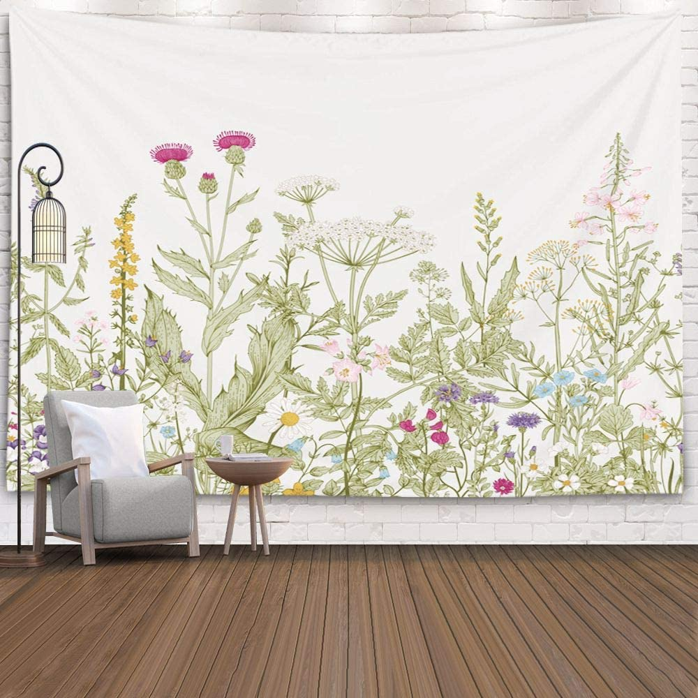 Pamime Wildflower Tapestry,Botanical Tapestry, Floral Herbs Wild Hanging Wall Tapestries for Living Room Decor 60X50 Inches(150X130Cm) Inhouse,Green Grey