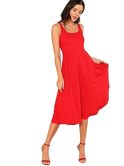 Floerns Women S Sleeveless Tank Fit And Flare Midi Dress At Amazon