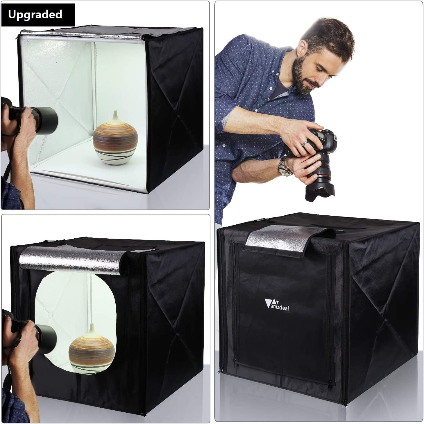 Amazon Com Amzdeal Light Box For Photography 20in Photography Tent With Led Light 4 Backdrops White Black Orange Grey Sports Outdoors