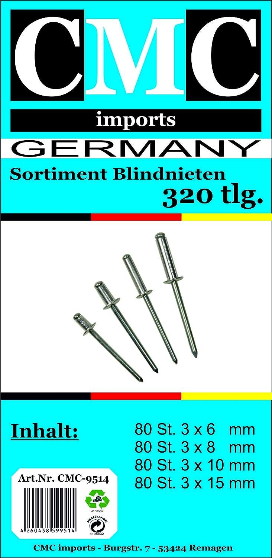 Blindnieten Popnieten Sortiment Flachrundkopf Alu 320 tlg CMC Stahl