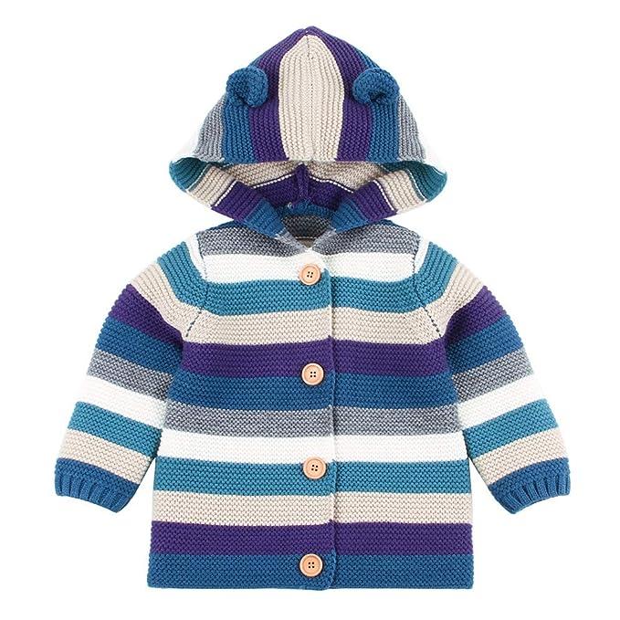 d57a3140c0de Amazon.com  FORESTIME Newborn Baby Boys Girls Kintted Striped ...
