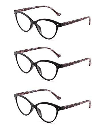 a42d5ad13a Image Unavailable. Image not available for. Color  JM 3 Pack Fashion  Designer Cat Eye Reading Glasses ...