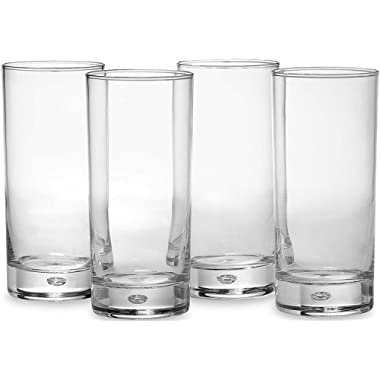 Circleware Air Bubble Heavy Base Highball Drinking Glasses, Set of 4, Dinnerware Kitchen Glassware for Water, Ice Beer, Wine, Cold Beverages and Best Bar Decor Gifts, 18 oz, Oslo Tumbler