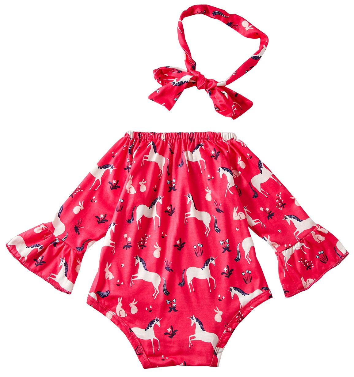 Leapparel Fancy Design Off Shoulder Pom Pom Romper Little Girl Matching Outfits Monogrammed Baby Bodysuit for Girls and Headbands Unicorn Red 6-12M/80