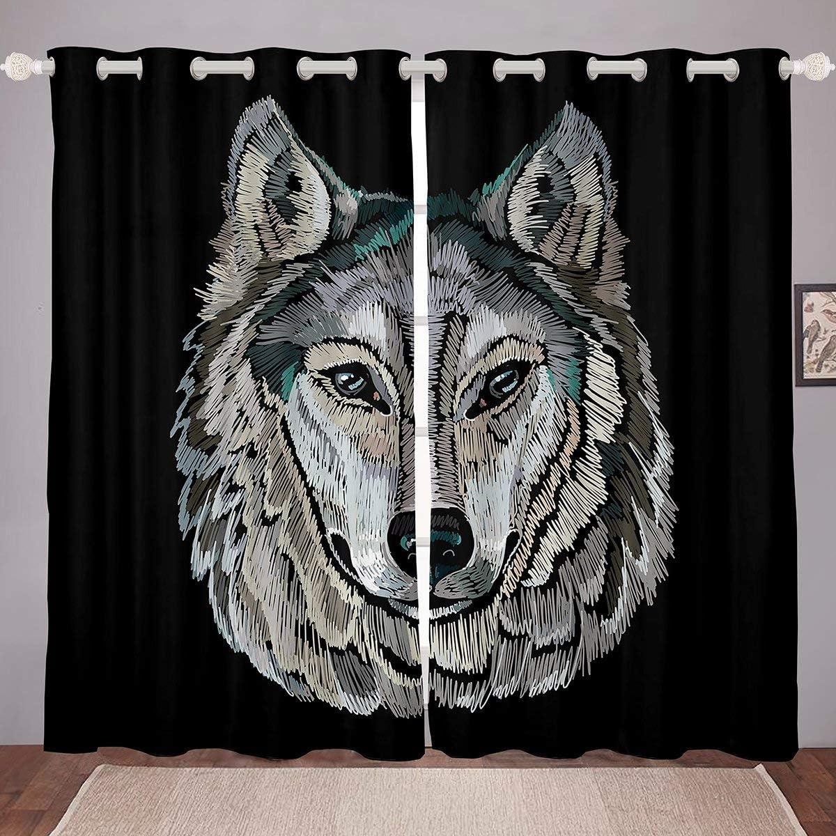 "Erosebridal Wolf Window Drapes Cartoon Wolf Head Curtains African Savannah Wildlife Animal Window Curtain Panels Boho Hippie Embroidery Style Grommet Curtain, Fashion Decor 104"" X 96"",Black"