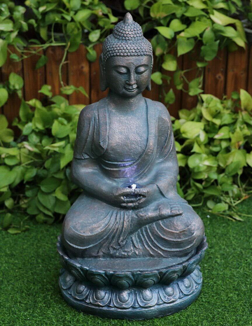 Buddha Bronze Fountain GEEZY Garden Water Feature LED Fountain Indoor Outdoor Cascading Freestanding Polyresin Garden Statue Lights & Water Decoration (Buddha Bronze Fountain)