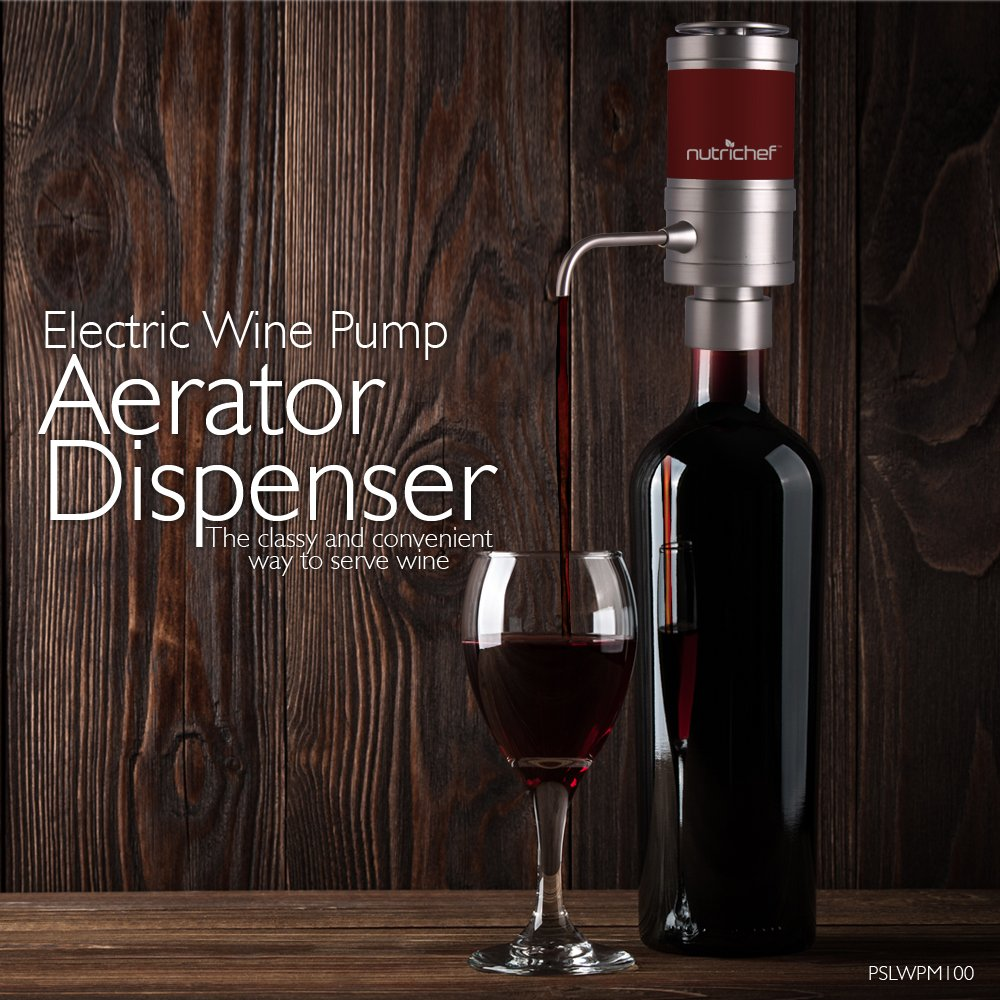 Electric Wine Aerator Dispenser Pump - Portable and Automatic Bottle Breather Tap Machine - Air Decanter Diffuser System for Red and White Wine w/Unique Metal Pourer Spout - NutriChef PSLWPMP50 by NutriChef (Image #4)