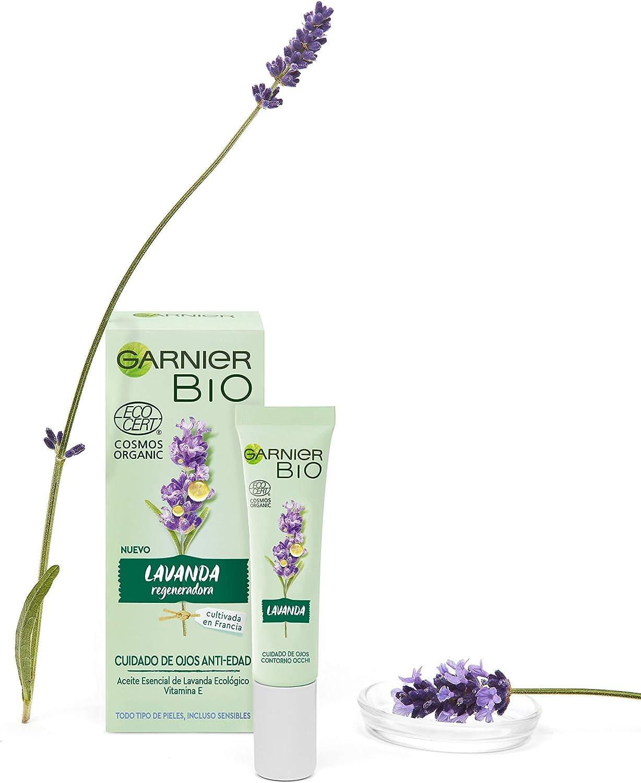 Garnier BIO Crema Antiedad para el Contorno de Ojos con Aceite Esencial de Lavanda Ecológico y Vitamina E - 15 ml