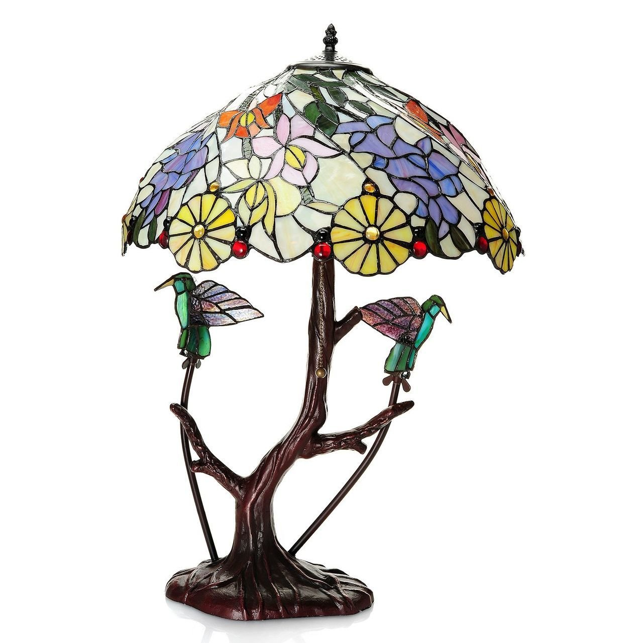 Warehouse of Tiffany Shiyee Love Birds Stained Glass 2-light Table Lamp, Multi, 18'' D x 26'' H