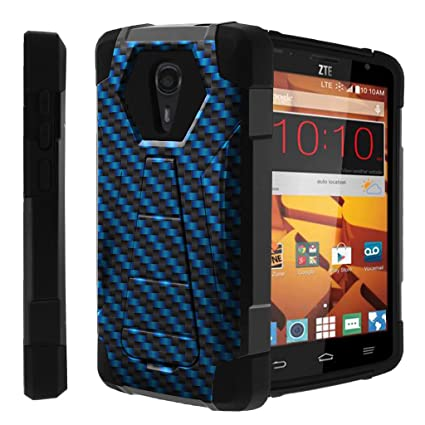 meet add76 f7fb1 Untouchble Case for ZTE Quest, ZTE Ultra, N817 Case [Traveler Series]- Dual  Layer Hard Plastic Inner Silicone Stand Case - Blue Carbon Fire