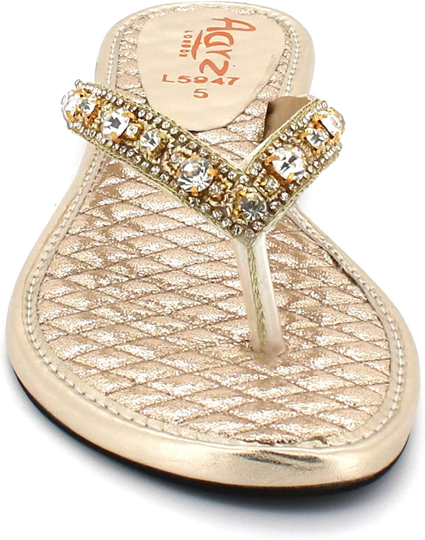 Femmes Dames Diamante détail Toe Post Glisser sur Soir Fête Mariage Décontractée Plat des Sandales des Chaussures Taille Or