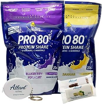 Atlant Vital Set de Inkospor Active Pro 80 Protein Shake Protein en polvo, muchos sabores, 2 x 500 g + 2 barritas de proteínas y banda de masaje AV ...