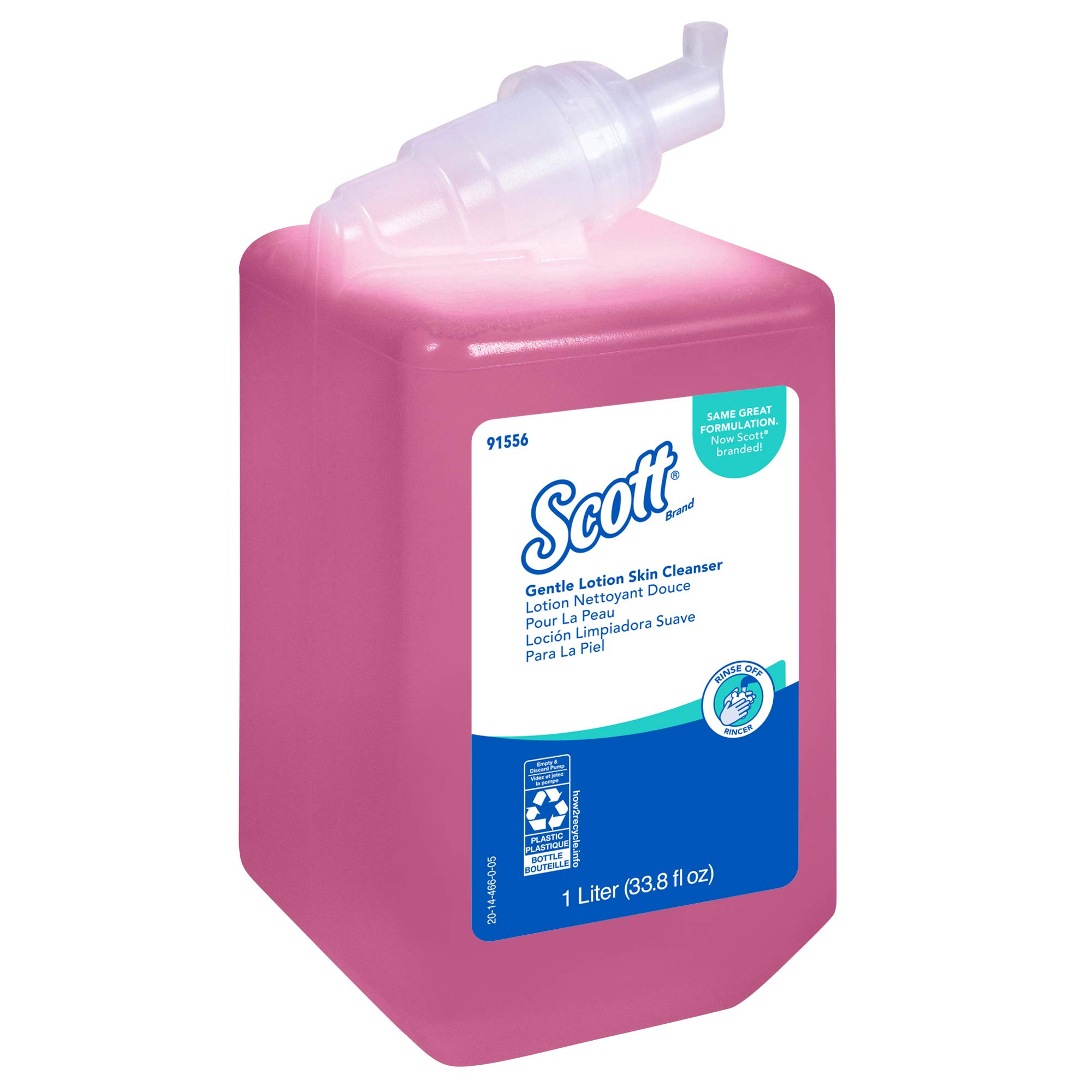 Scott Essential (formerly Kleenex) Gentle Lotion Skin Cleanser (91556), Floral, Pink, 1.0 L, 6 Packages/Case - Same Kleenex quality, now Scott branded