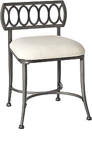 Hillsdale Furniture Canal Street Vanity Stool, Pewter & Cream