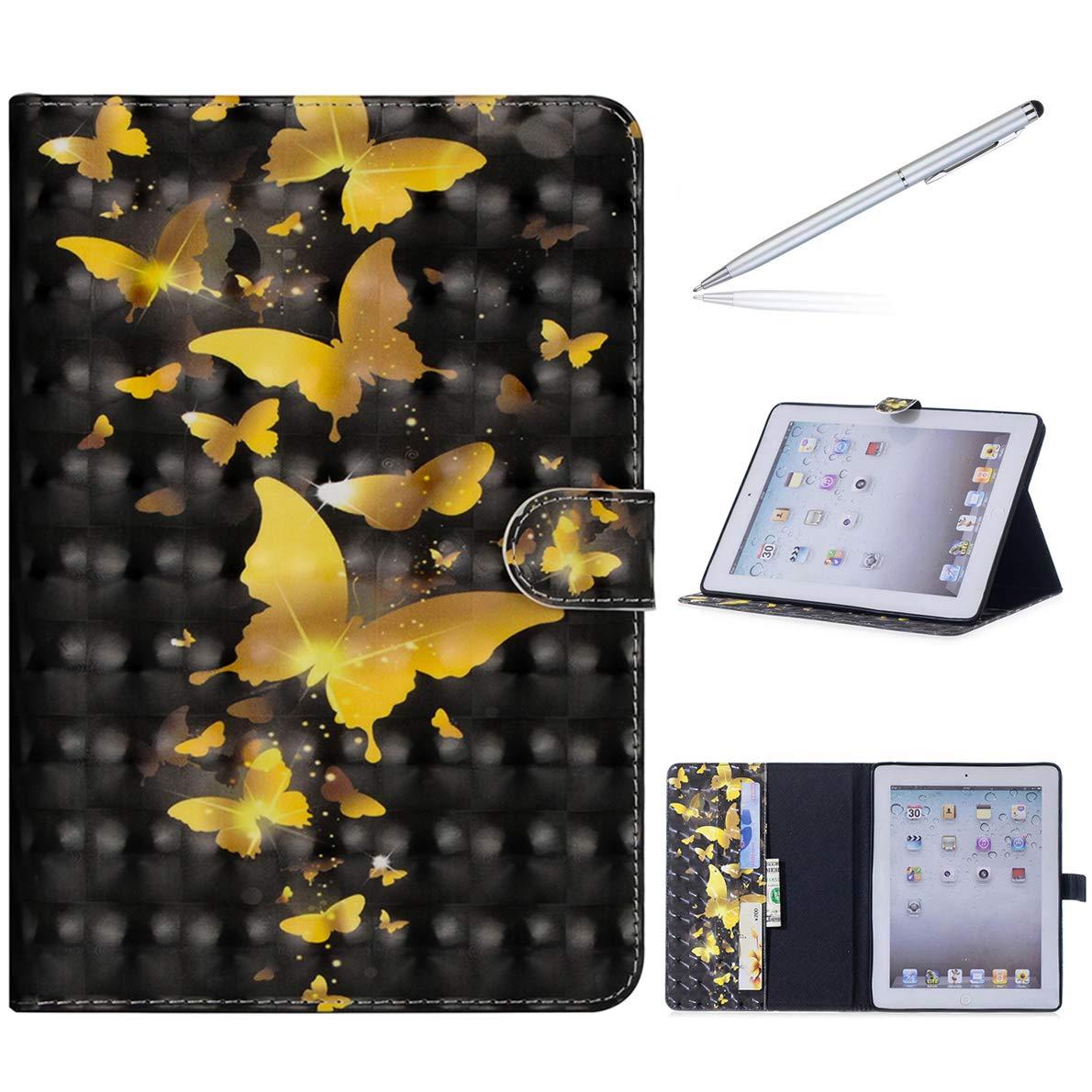 iPad 2/3 / 4 Hülle, SHUYIT Farbe Muster PU Leder Tasche Flip Ständer Case Cover Handyhülle Schutzhülle für Apple iPad 2/3 / 4 Etui Lederhülle mit Auto Einschlafen/Aufwachen + 1*Stylus iPad 2/3 / 4 Hülle