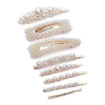Schöne Haarspange Perlen Gold Silber Damen Kinder Haarclip Haarnadel Haarschmuck