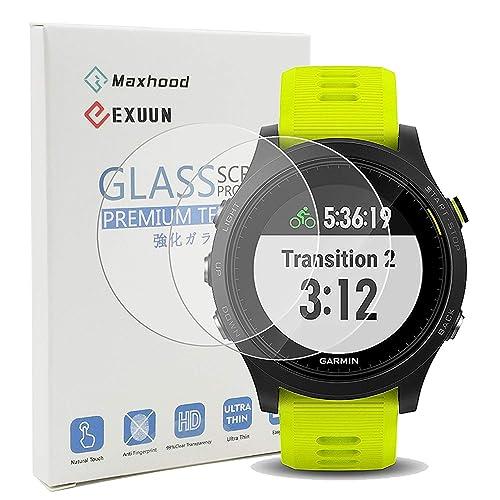 Maxhood (Paquet de 2) Garmin Forerunner 935 protection d'écran en verre, dureté 9H 0,3 mm Ultra fin 2.5d Round Edge protection d'écran en verre trempé pour Garmin 935