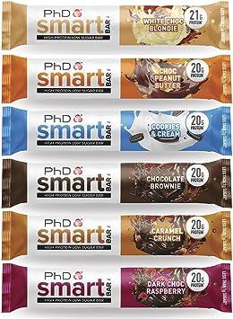 PhD Smart Protein Bar, Barra alta en proteínas, baja en carbohidratos, variedad Caja de 6 sabores, 64 g, paquete de 12