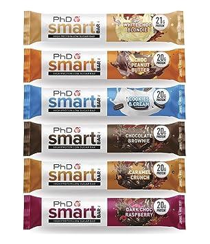 PhD Smart Protein Bar, Barra alta en proteínas, baja en carbohidratos, variedad Caja de 6 sabores, 64 g, paquete de 12: Amazon.es: Salud y cuidado personal
