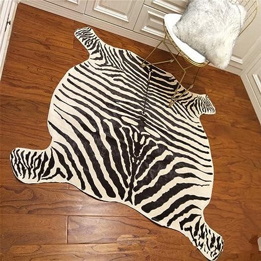 Faux Zebra Print Area Rug, Blanket 4.9×4.6 Feet Animal Rug Mat Carpets Blanket Home,Living Room, Office Yellowish Cream Color
