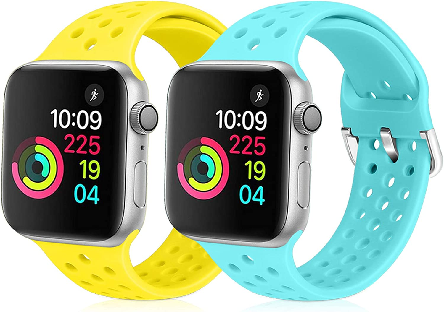 XFYELE Compatible with Apple Watch Band 42mm 44mm, Soft Silicone Replacement Strap Compatible for iWatch Series 6, 5, 4, 3, 2, 1 for Women and Men (Shiny Yellow & Sky Blue, 42mm/44mm)