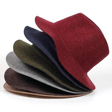 bf5b45d77 Amazon.com: Wool Fedoras with Metal Ring Wide Brim Panama Hat Winter ...