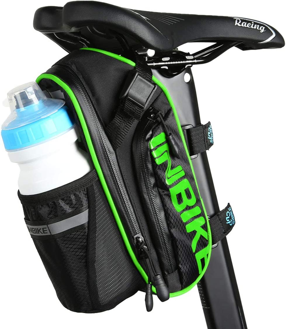 Arkmiido Bike Saddle Bag Mountain Bike Accessories Polyester Saddle Bag with Pocket of 1.2L Water Bottle
