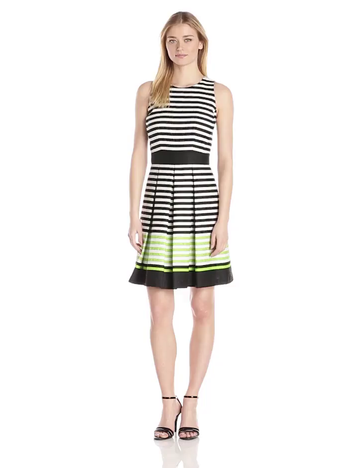 Taylor Dresses Women's Sleeveless Stripe Popover Dress, Black/White/Lime, 12