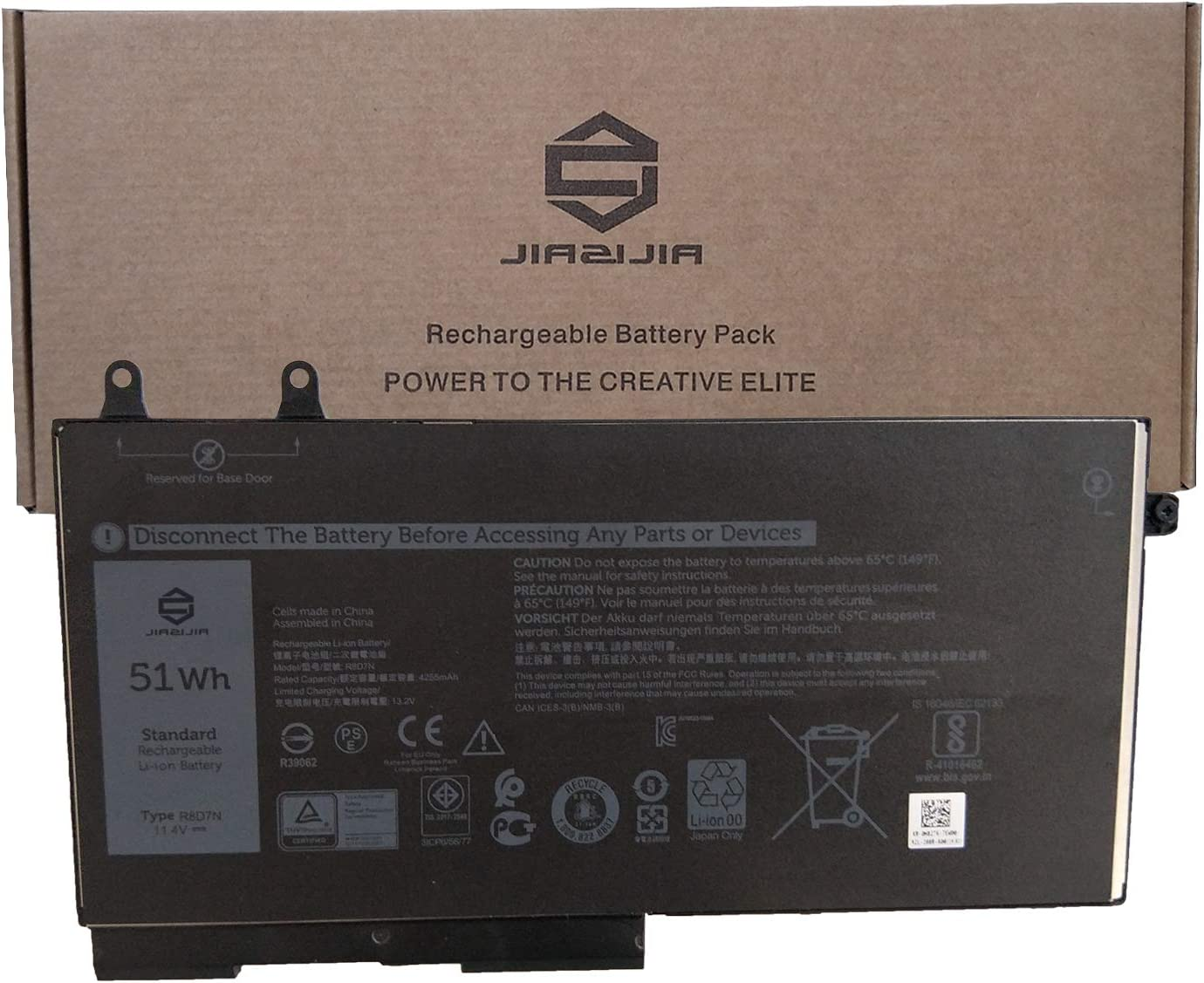 JIAZIJIA R8D7N Laptop Battery Replacement for Dell Latitude 5400 E5400 5410 E5410 5500 E5500 5510 E5510 Precision 3540 3550 Series Notebook 0H82T6 H82T6 0C5GV2 C5GV2 0W8GMW W8GMW 11.4V 51Wh 4255mAh