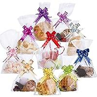Lot de 100 Sacs Sachet de Transparents en Plastique Cellophane pour Biscuits Chocolat Bonbons 9.8 x 6.7 inch with 100Pcs Mix Couleurs Tirez Noeuds