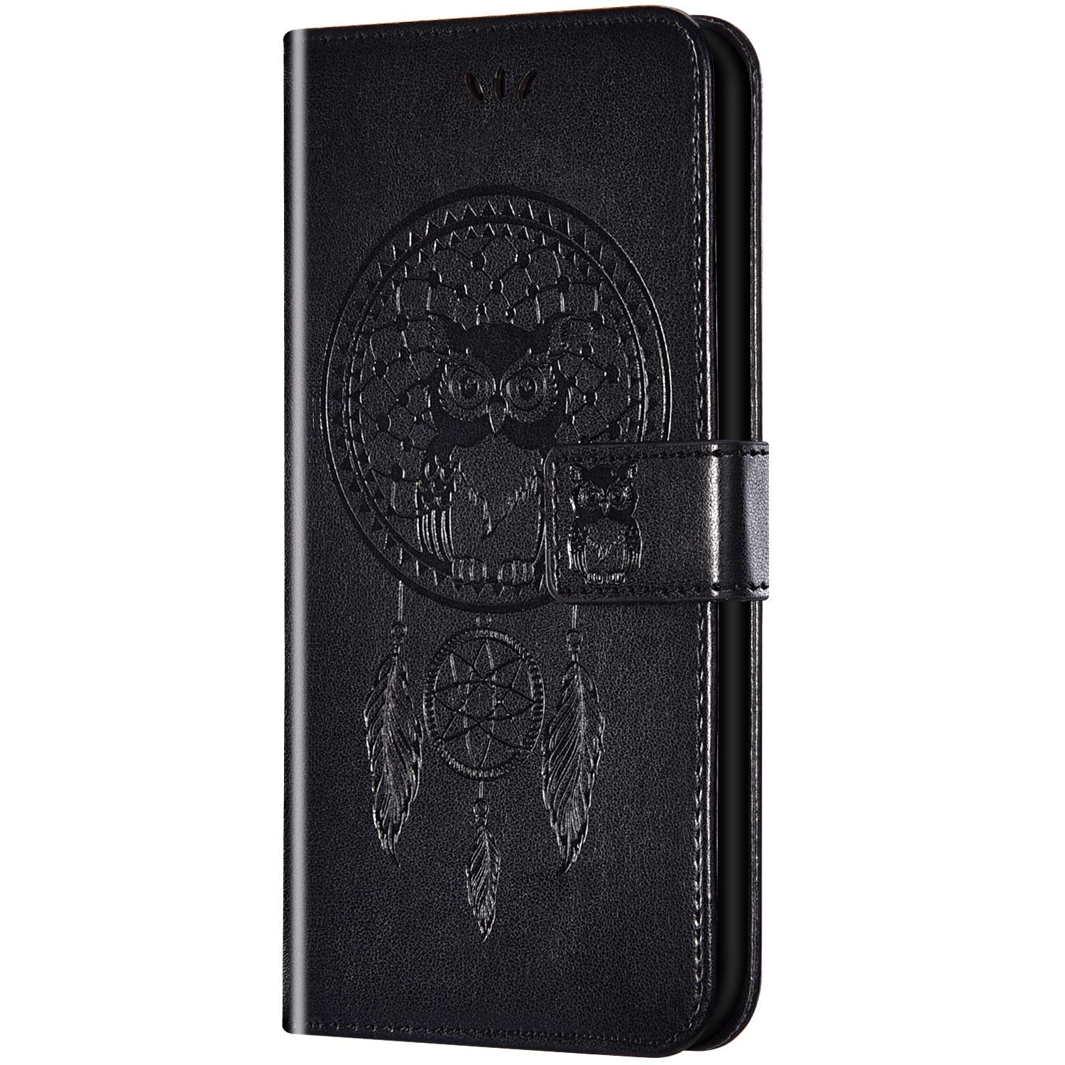 Case for Huawei Honor 8A/Huawei Y6 2019 Flip Case Ultra Slim PU Leather Wallet with Card Holder/Slot and Magnetic Closure Shockproof Owl Embossed Protective Cover for Huawei Honor 8A/Y6 2019,Black by ikasus