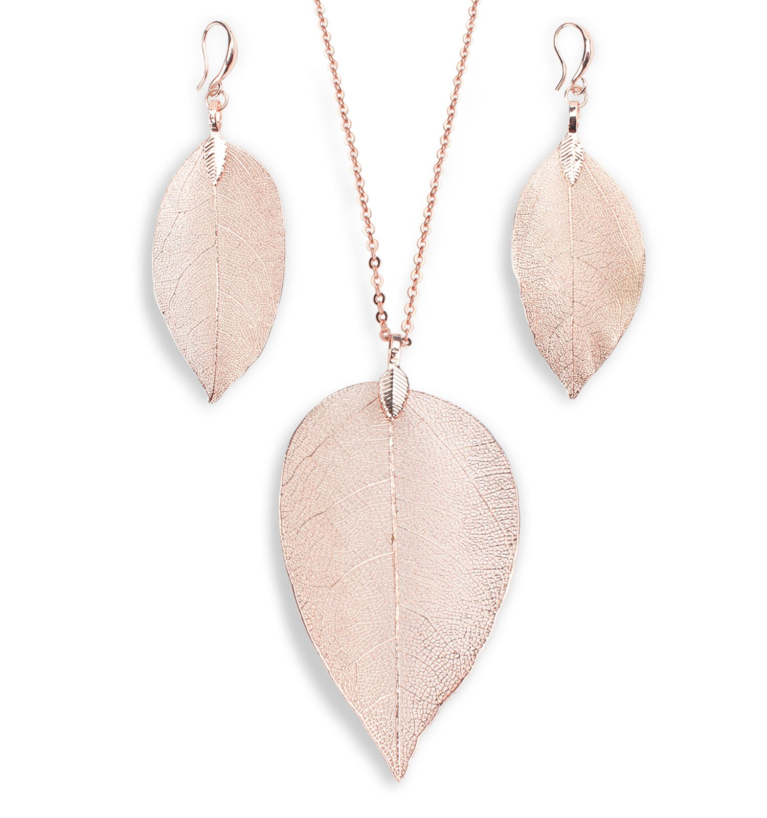 BOUTIQUELOVIN Filigree Long Leaf Pendant and Dangle Earring Jewelry Set for Women Girls-14K Gold,Rose Gold,Silver,Copper (Rose Gold)