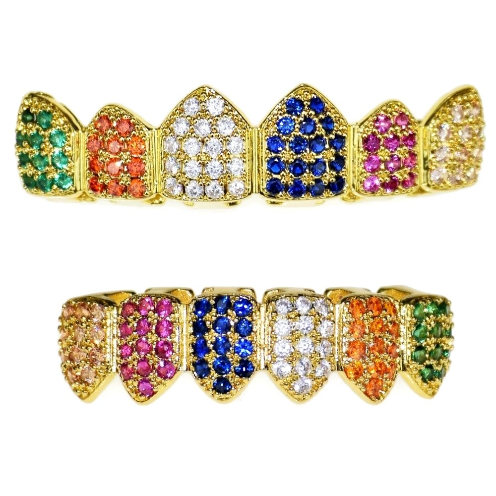 18K Gold Plated Clown Grillz Set Multi-Color CZ Bling Cubic Zirconia Top & Bottom Teeth Hip Hop Grills by Best Grillz