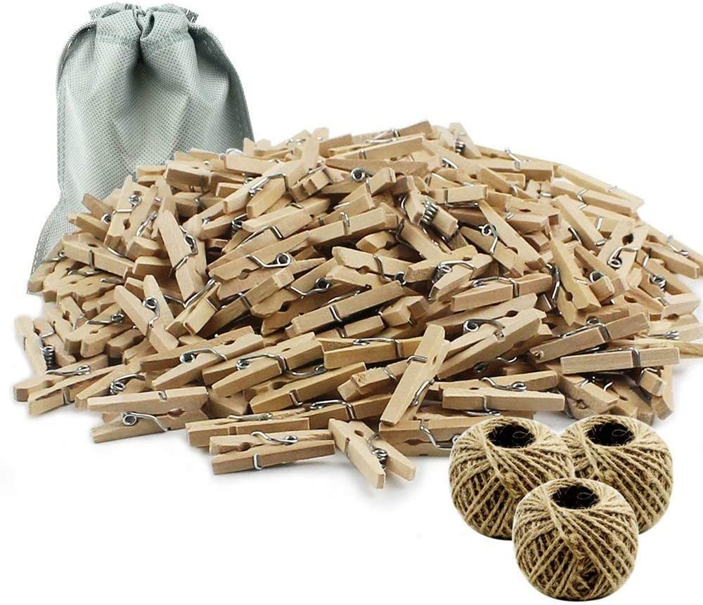 Twine String and 50 psc Mini Wooden Pegs Making Arts Crafts Gift Make Gardening