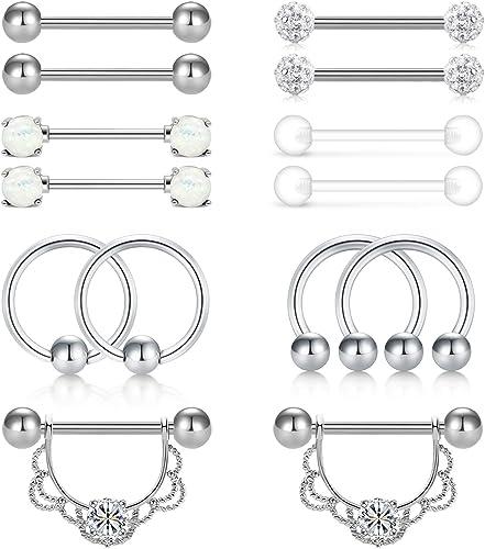 10pcs Stainless Steel Tongue Rings Barbells Body Piercing Kit 14 Gauge