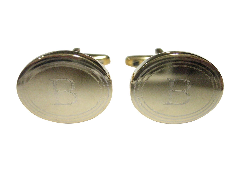Gold Toned Etched Oval Letter I Monogram Cufflinks