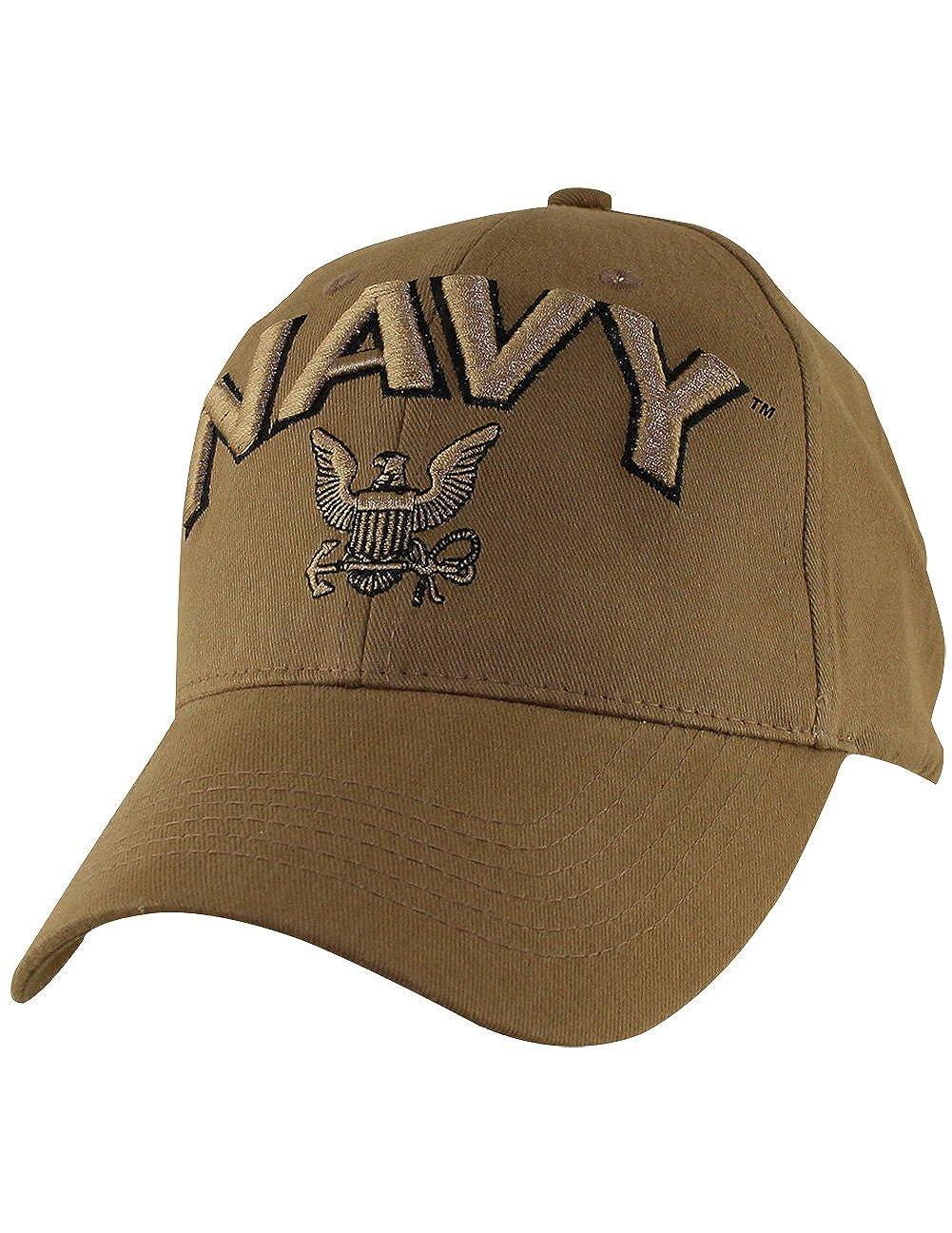 7db927bd939 Amazon.com  U.S. NAVY Insignia Hat - USN Coyote Brown Baseball Cap ...