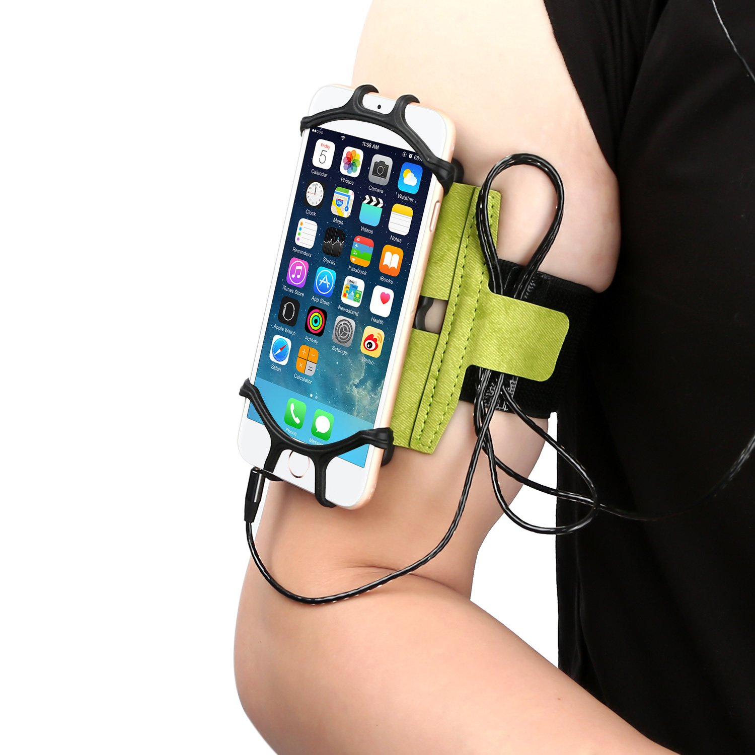 WAAO Sports Armband: Cell Phone Holder Case Arm Band Strap Pouch Mobile Exercise Running Workout Compatible with Apple iPhone X 8 7 6 6S Plus Android Samsung Galaxy S9 S8 S6 Note 8 (180° Rotatable)