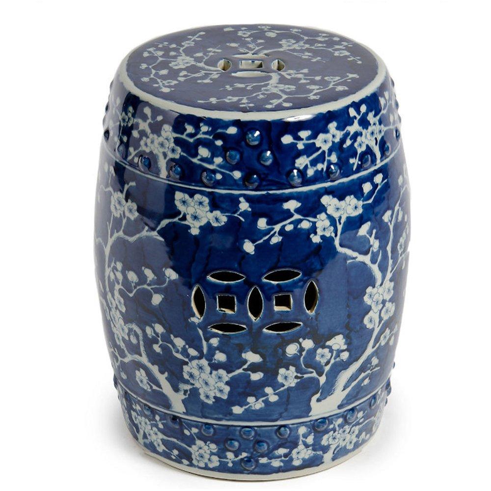Asian Chinese Blue & White Ceramic Garden Stool Seat with Plum Blossom Decorative Porcelain Ceramic Circle Oriental Furniture