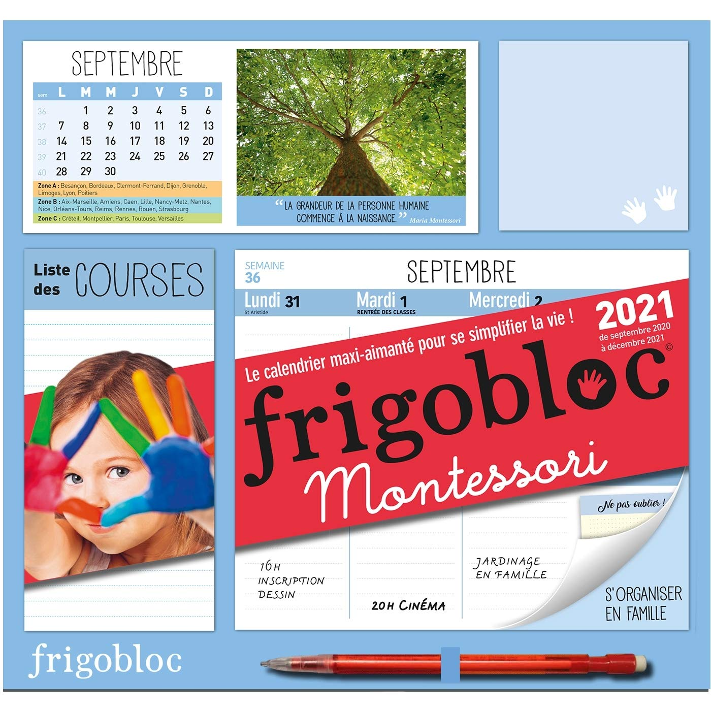 Frigobloc Montessori 2021   Calendrier d'organisation familiale