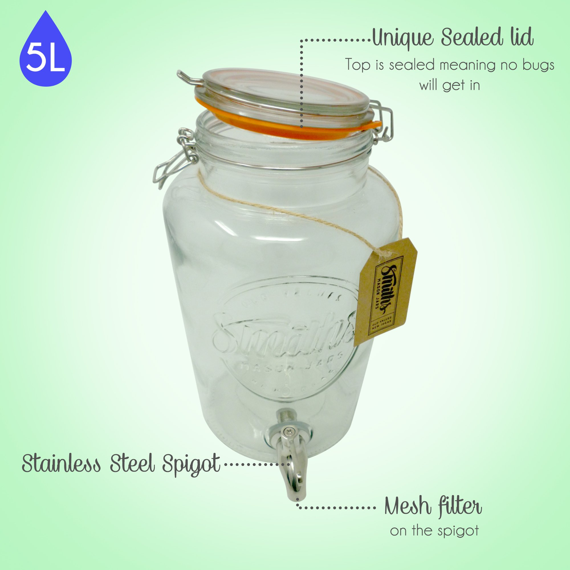 5 Litre Drinks Dispenser with Steel Spigot, wire mesh (to stop blockages) and gift tag, it's the Ultimate Drinks cooler - By Smith's Mason Jars by Smith's Mason Jars (Image #3)