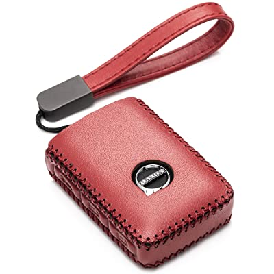Vitodeco Genuine Leather Smart Key Fob Case Cover Protector with Leather Key Chain for 2020-2020 Volvo XC60, XC90, S90, V90 (4-Button, Red): Automotive