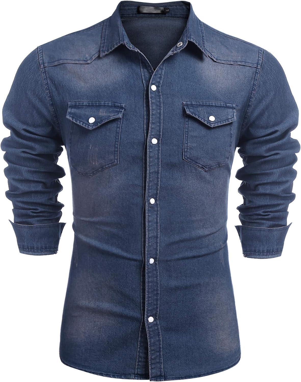 Lamore Camisas de mezclilla para hombre en estilo informal con botones de manga larga