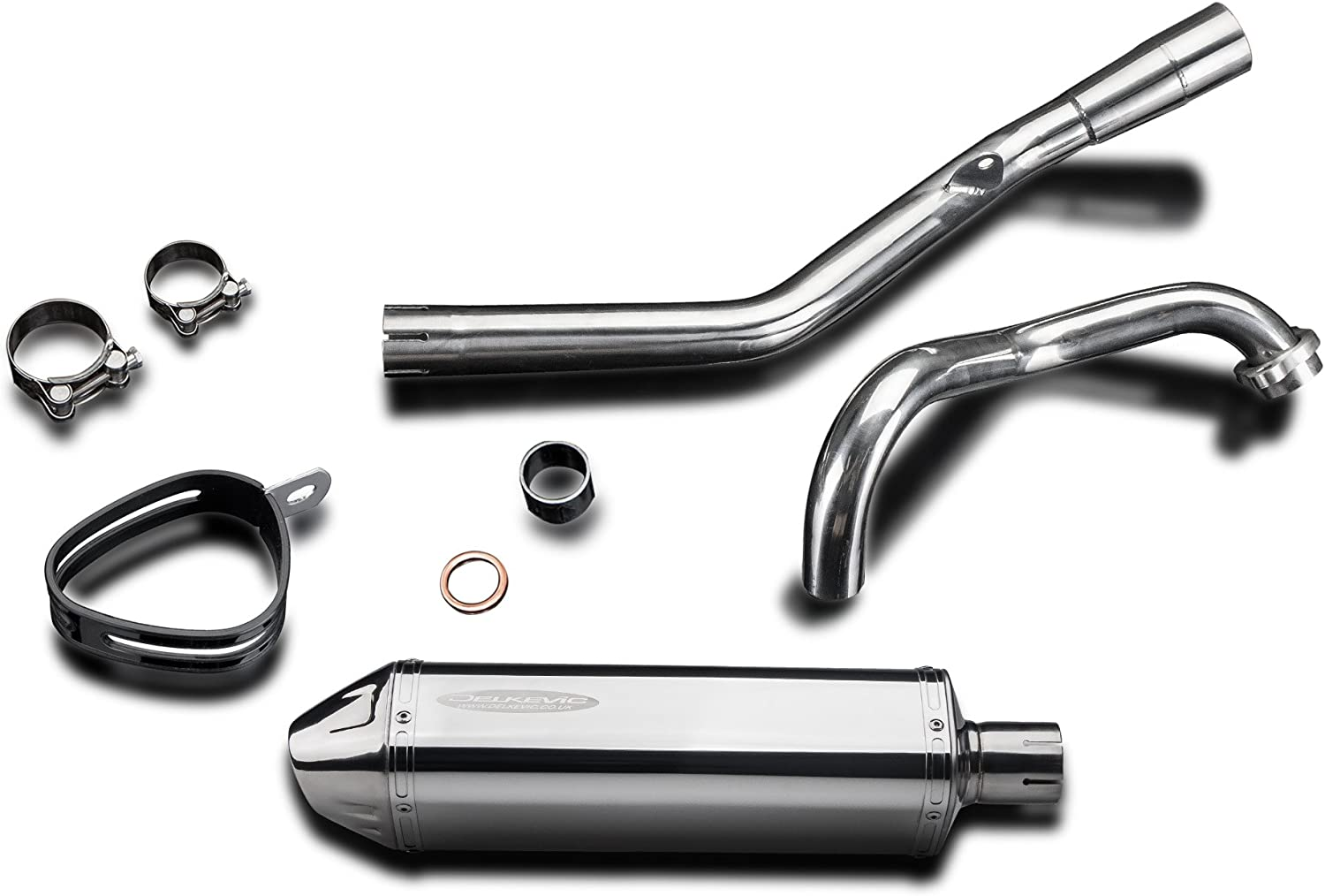 Delkevic Full 1-1 Exhaust compatible with Yamaha YZF-R125 Stubby 13 Stainless Steel Tri-Oval Muffler Exhaust 11-16