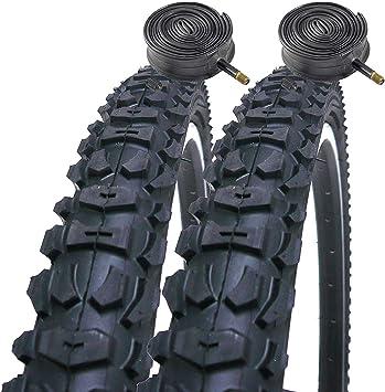 Coyote Pro TY265 - Cubiertas para bicicleta de montaña (26, 2 unidades, incluye 2 cámaras de aire con válvula Schrader), color negro: Amazon.es: Deportes y aire libre