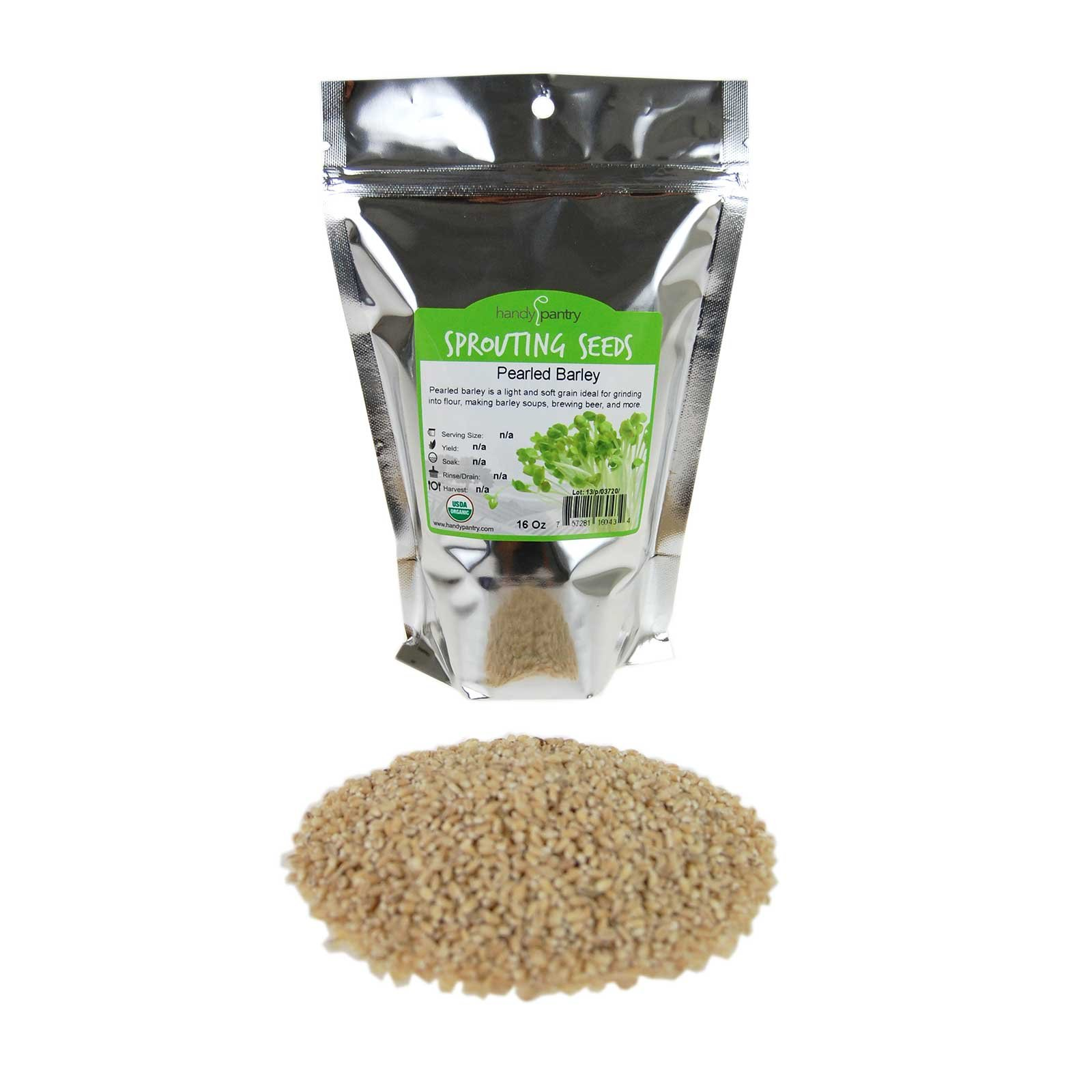 Organic Pearled Barley (Hulled) - 1 Lb Re-Sealable Package - Barley Grains for Flour, Bread, Beer Making Animal Feed, Food Storage & More by Handy Pantry